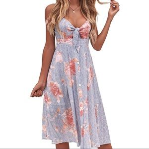 Floral Toe Front, Button Down Dress